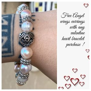 Fresh water pearls heart bracelet + free earrings